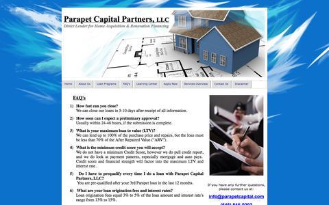 Screenshot of FAQ Page parapetcapital.com - Hard Money Lender, Hard Money Lender NJ NY CT NEW YORK, NY FAQ's - captured Oct. 1, 2014