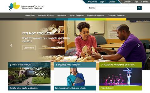 Screenshot of Home Page jccc.edu - JCCC Home - captured Oct. 1, 2015