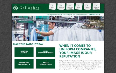 Screenshot of Home Page gallagheruniform.com - Gallagher Uniform Is The Source For Industry Uniforms & Supplies - captured July 15, 2018
