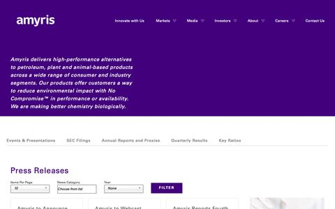 Screenshot of Press Page amyris.com - Press Releases   Amyris - captured May 24, 2019