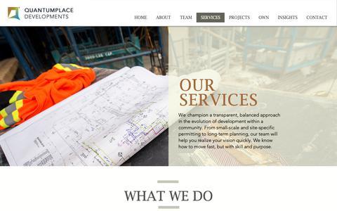 Screenshot of Services Page quantumplace.ca - SERVICES | Calgary | QuantumPlace Developments - captured Nov. 11, 2018