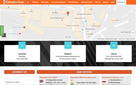 Screenshot of Contact Page datamaticsgroup.com - Contact Us - captured Nov. 23, 2016