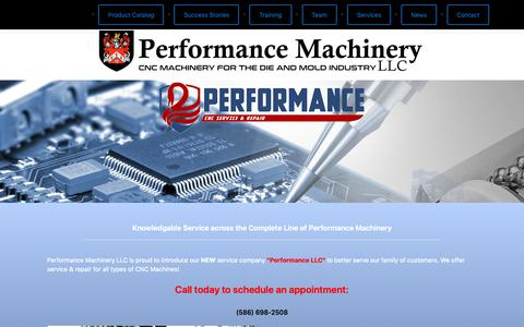 Screenshot of Services Page performancemachineryllc.com - Service – Performance Machinery - captured Dec. 7, 2018