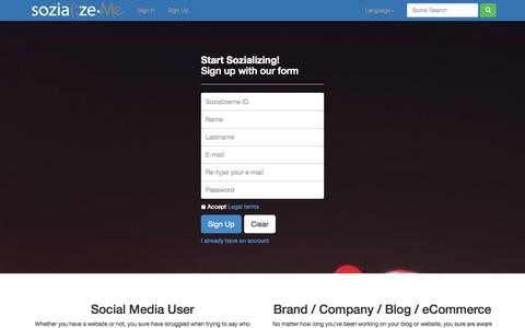 Screenshot of Signup Page sozializeme.com - SozializeMe - Follow and be followed in just one click - captured Sept. 17, 2014
