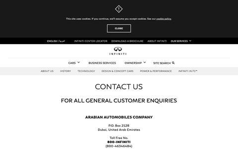 Screenshot of Contact Page infiniti-dubai.com - INFINITI Dubai    Contact Us   Get in touch with our Team - captured Oct. 4, 2018