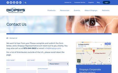 Screenshot of Contact Page diopsys.com - Contact us for more information on modern visual electrophysiology. - captured June 4, 2017
