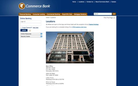 Screenshot of Locations Page bankatcommerce.com - Locations - - captured Oct. 2, 2014
