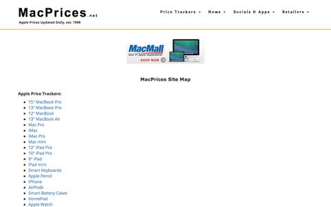 Screenshot of Site Map Page macprices.net - MacPrices.net Site Map - captured Sept. 23, 2018