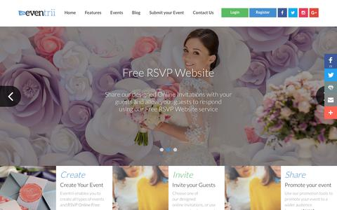 Screenshot of Home Page eventrii.com - Free RSVP Website Online | eventrii.com - captured July 21, 2018