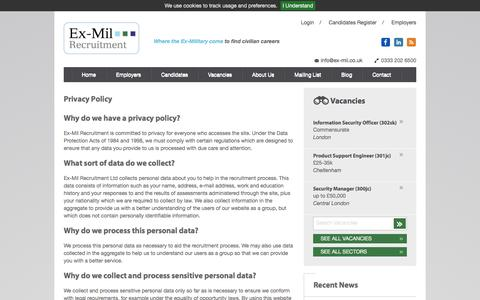 Screenshot of Privacy Page ex-mil.co.uk - Privacy Policy | Ex-Mil Recruitment - Civilian Vacancies for the Ex-Military - captured Nov. 13, 2016