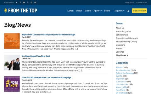 Screenshot of Blog fromthetop.org - Blog/News | From the Top - captured June 6, 2017