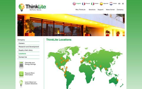 Screenshot of Locations Page thinklite.com - ThinkLite LLC - captured Nov. 2, 2014