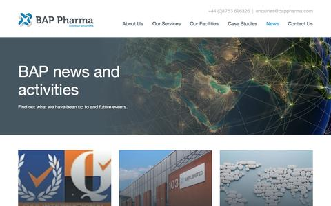 Screenshot of Press Page bappharma.com - News | BAP Pharma - captured May 25, 2017
