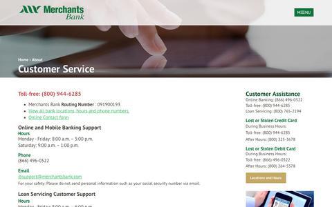 Screenshot of Support Page merchantsbank.com - Contact Customer Service at Merchants Bank - captured Nov. 28, 2016
