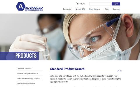Screenshot of Products Page abionline.com - Standard Products | Advanced Biotechnologies Inc - International Biotechnology Company - Maryland - captured Jan. 24, 2016