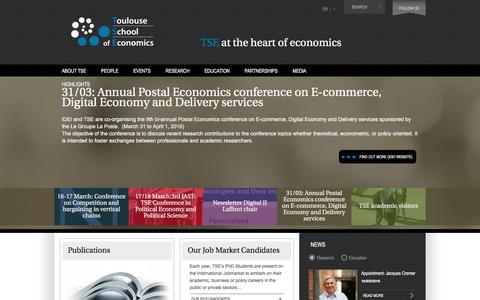 Screenshot of Home Page tse-fr.eu - TSE | TSE at the heart of economics - captured Feb. 24, 2016