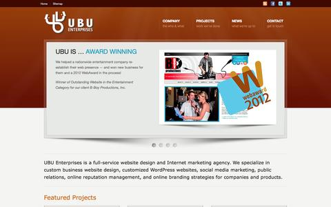 Screenshot of Home Page ubuenterprises.com - Innovative Website Design and Development | UBU Enterprises - captured Sept. 30, 2014