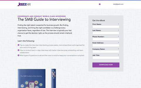 Screenshot of Landing Page jazzhr.com - Free eBook: The SMB Guide to Interviewing| JazzHR - captured Sept. 20, 2018