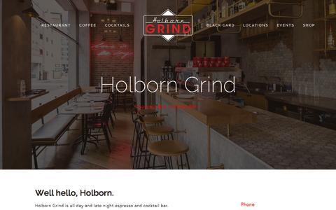 Screenshot of Home Page holborngrind.com - Holborn Grind - captured Sept. 16, 2015