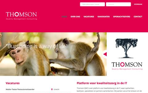 Screenshot of Home Page thomsonqmc.nl - Thomson Quality Management Consulting - captured Oct. 6, 2014