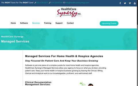 Screenshot of Services Page healthcaresynergy.com - Managed Services - Healthcare Synergy, Inc. - captured Feb. 7, 2018