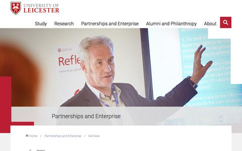 Screenshot of Services Page le.ac.uk - Services for business — University of Leicester - captured Jan. 23, 2018
