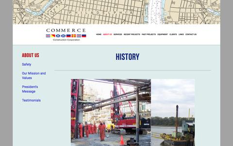 Screenshot of About Page commerceconstruction.com - History — Commerce Construction - captured Aug. 18, 2017