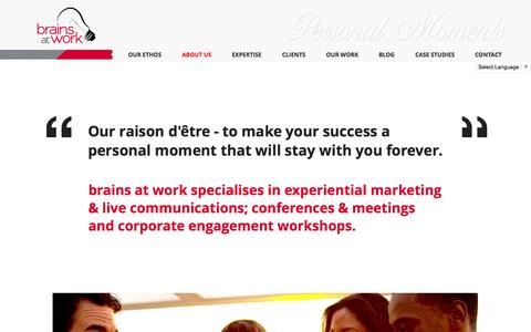 Screenshot of About Page brains-atwork.com - About Us | brains at work | Dubai - United Arab Emirates - captured Oct. 29, 2014