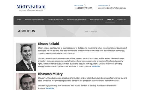 Screenshot of About Page mistryfallahi.com.au - About Us - MistryFallahi Lawyers & Business Advisors - captured Oct. 7, 2014