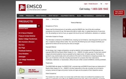 Screenshot of Terms Page emscomn.com - Used Electrical Equipment, Motors, Breakers :: EMSCO :: Terms of Use - captured Oct. 2, 2014
