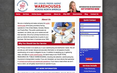 Screenshot of About Page awco.com - Georgia Public Warehouse Indiana Public Warehousing Illinois Public - captured Oct. 4, 2014