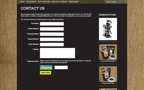 Screenshot of Contact Page beanify.com - Contact us at beanify   the gourmet coffee club - captured Oct. 5, 2014