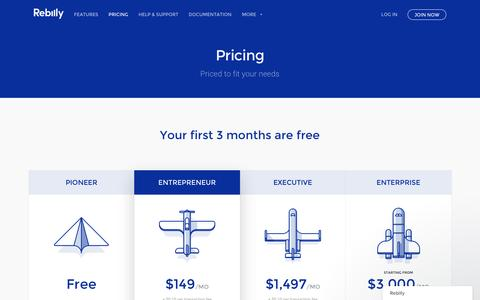 Screenshot of Pricing Page rebilly.com - Recurring Billing & Payments Made Easy | Rebilly - captured Oct. 21, 2016