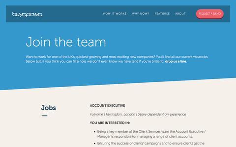Screenshot of Jobs Page buyapowa.com - Careers - Buyapowa - captured Nov. 14, 2015