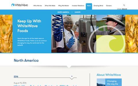 Screenshot of Press Page whitewave.com - WhiteWave Foods - captured Sept. 1, 2016