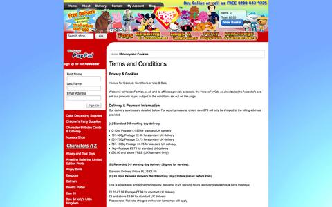 Screenshot of Terms Page heroesforkids.co.uk - Privacy and Cookies - captured Oct. 2, 2014