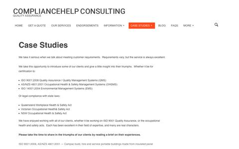 Screenshot of Case Studies Page quality-assurance.com.au - O H & S & Quality Management ISO 9001 – Case Studies | Compliance Help Consulting | Compliancehelp Consulting - captured Aug. 17, 2017