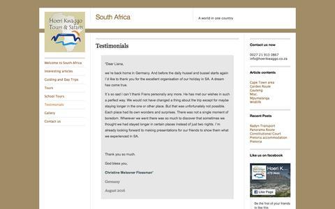Screenshot of Testimonials Page wordpress.com - Testimonials | South Africa - captured Nov. 10, 2016