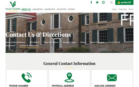 Screenshot of Contact Page Maps & Directions Page valleyschoolofligonier.org - Valley School of Ligonier Contact Us & Directions - captured Sept. 20, 2018