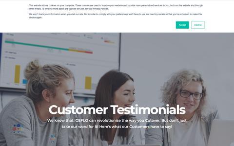 Screenshot of Testimonials Page iceflo.com - Customer and User Testimonials - captured Sept. 30, 2018