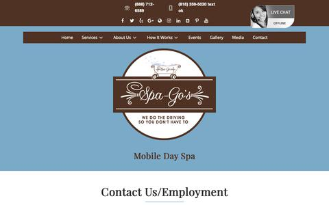 Screenshot of Contact Page spa-gos.com - Contact - Spa-Go's Mobile Day Spa, Salon & Lifestyle Co. - captured Oct. 1, 2018