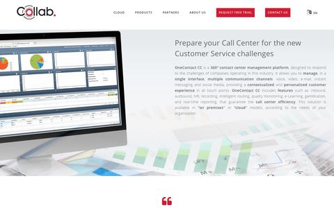 Screenshot of Products Page collab.com - Call Center Software - OneContact Contact Center - captured May 20, 2017