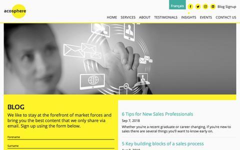 Screenshot of Blog acosphere.co.uk - Acosphere | Blog - captured Dec. 18, 2018