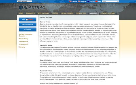 Screenshot of Terms Page blastrac.com - Legal Notices - Blastrac, NA - captured Oct. 5, 2014