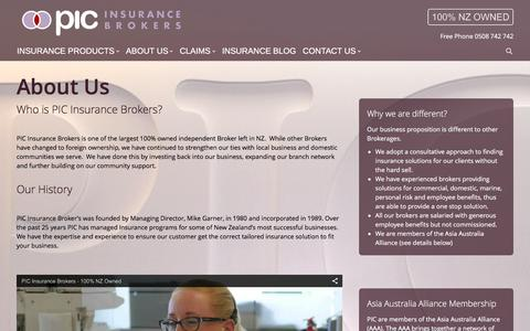 Screenshot of About Page pic.co.nz - Who is PIC? - PIC Insurance Brokers - captured Jan. 23, 2016