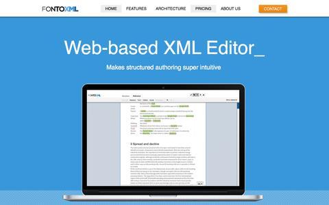 Screenshot of Pricing Page fontoxml.com - FontoXML - Web based XML editor - captured Oct. 6, 2014
