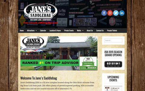 Screenshot of Home Page janessaddlebag.com - Jane's Saddlebag | Over a Decade of Making Memories! - captured Jan. 28, 2015