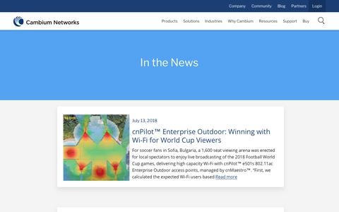 Screenshot of Press Page cambiumnetworks.com - In the News - Cambium Networks - captured July 15, 2018