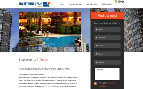 Screenshot of Home Page investment-spain.com - Investment Spain - captured April 10, 2016