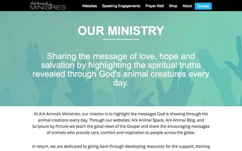Screenshot of About Page arkanimalsministries.org - About - Ark Animals Ministries | - captured Sept. 30, 2014